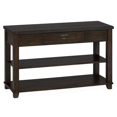 traditional sofa tables cassidy brown traditional plank top sofa table 561 4