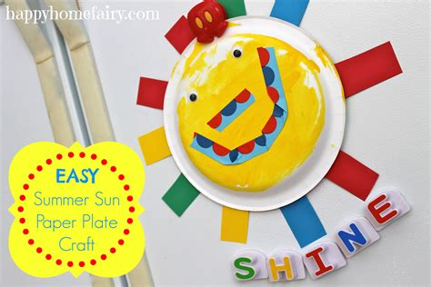 easy paper plate crafts easy summer sun paper plate craft happy home