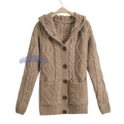 Hooded Cardigan Cable Knit Chunky Jumper Sleeve