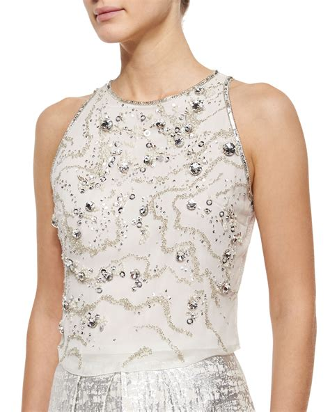 Phoebe Sleeveless Beaded Crop Top In White White Silver