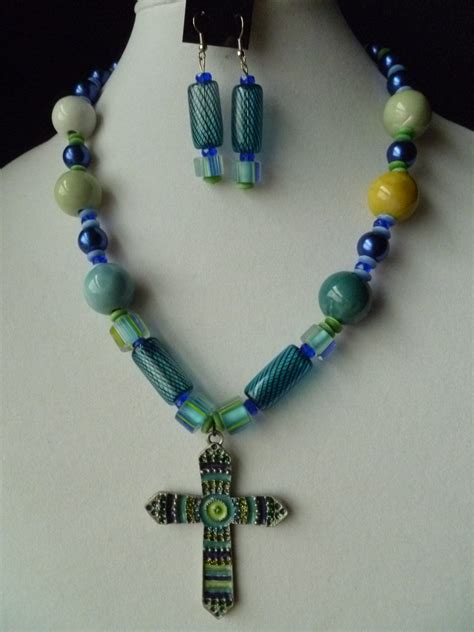 big beaded necklaces large cross chunky beaded necklace and earring set in blue and