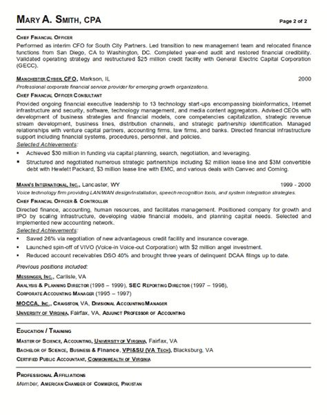 resume sample 21 cfo finance executive resume career