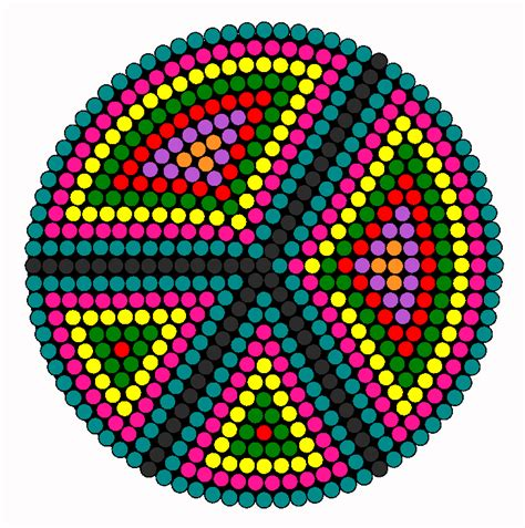 easy bead patterns rainbow peace signs perler bead pattern bead sprites
