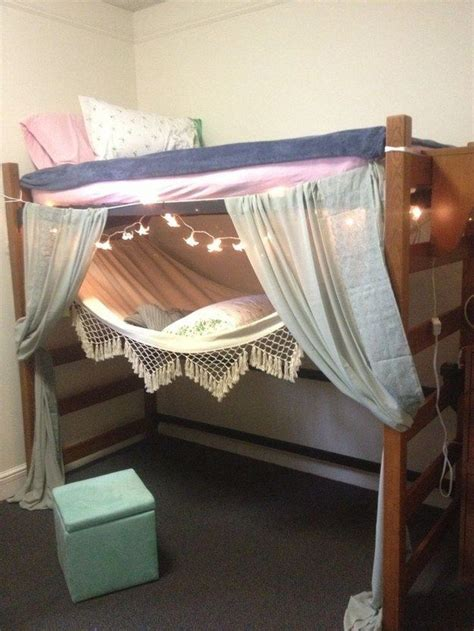 hammock bunk bed make a lofted bed fort like with starry lights and a