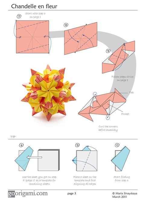 origami diagram chandelle kusudama by sinayskaya diagram