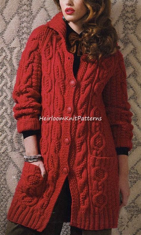 knitted coat patterns for free aran style jacket coat knitting pattern chunky bulky