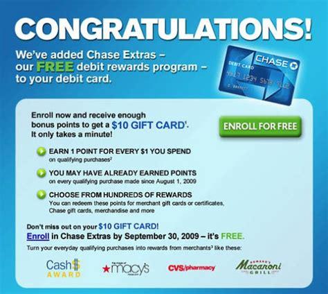 card program extras debit rewards program free 10 gift card