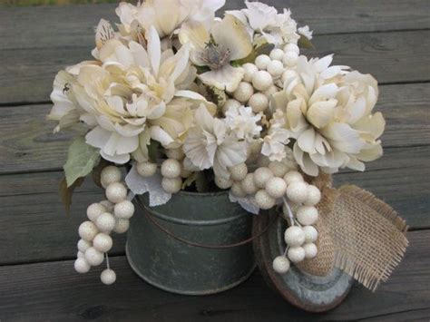 shabby chic floral arrangements rustic ivory centerpiece shabby chic floral arrangement