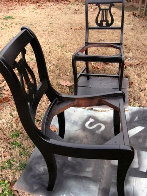 spray painting wood chairs furniture updating with black spray paint southern