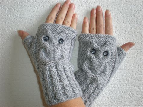 knitted wrist warmers knitted light grey color wrist warmers with knitted owl