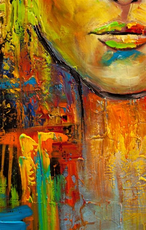painting palette knife colorful portrait painting modern palette knife heavy
