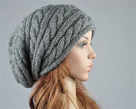 slouch hat knit pattern knit hat charcoal hat slouchy hat cable pattern