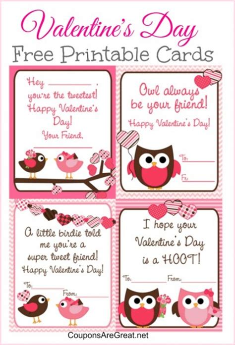 valentines day cards to make and print free printable s day cards for with owls