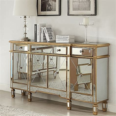 Costco Bedroom Furniture powell gold and mirrored 3 drawer 4 door console bed