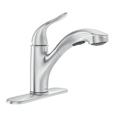 moen pull kitchen faucet moen brecklyn single handle pull out sprayer kitchen faucet with power clean in chrome 87557