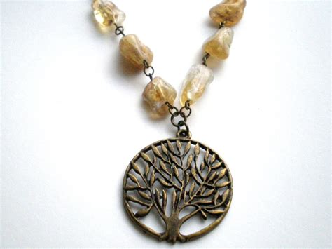 tree of beaded pendant citrine nugget tree of beaded necklace expressions