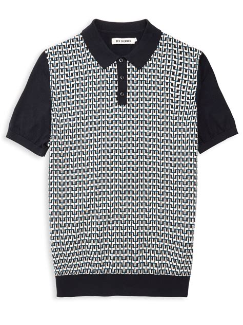 knitted shirt ben sherman geo knit polo shirt in blue for lyst
