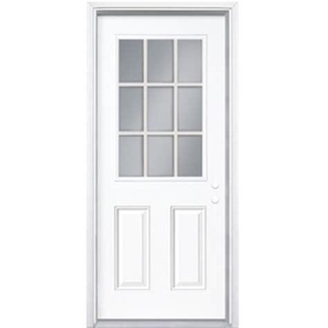 30 exterior door with window shop masonite 2 panel 9 lite left inswing primed