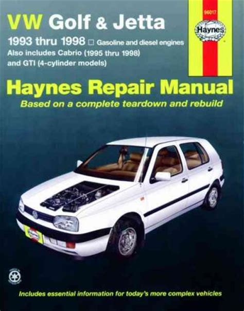 volkswagen vw golf jetta 1993 1998 haynes service repair manual sagin workshop car manuals