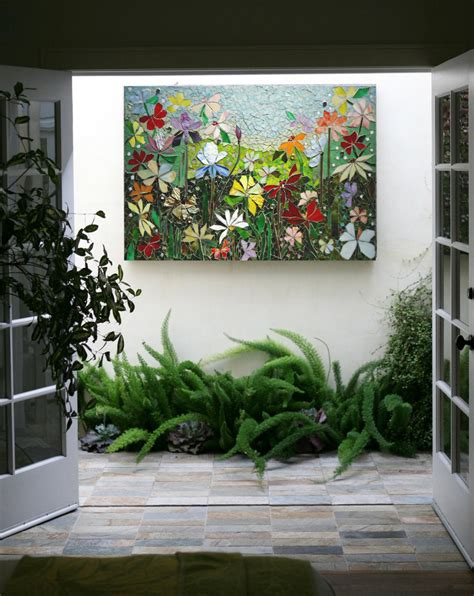 garden wall hangings mosaic wall stained glass wall decor floral garden indoor