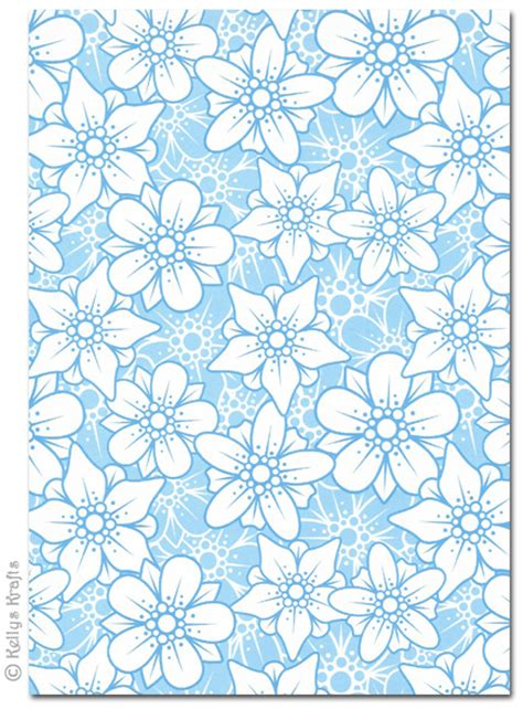 patterned craft paper a4 patterned card flowers blue and white 1 sheet 163 0
