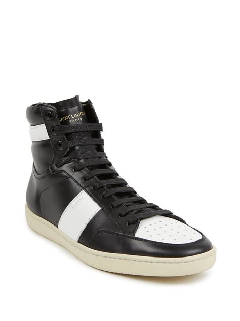leather high top shoes for laurent colorblock leather high top sneakers in