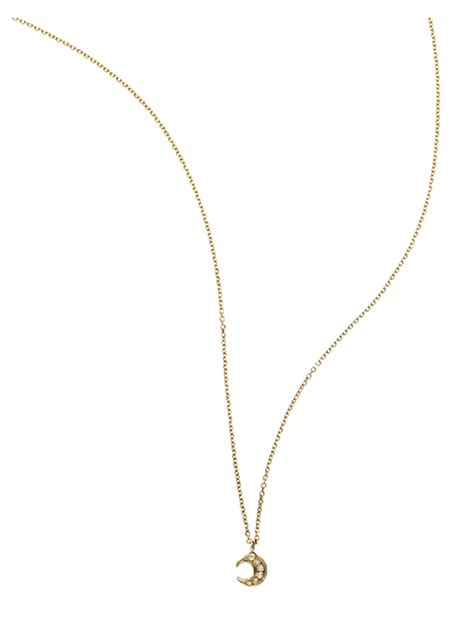 small necklace manon small moon pendant necklace in gold yellow gold lyst