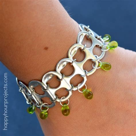 how to make recycled jewelry soda pop tab upcycled bracelet tutorial happy hour projects