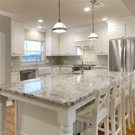 white cabinet kitchens with granite countertops white granite countertops and glass subway tile backsplash