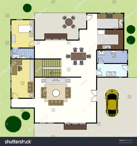 house floor plan layouts ground floor plan floorplan house home stock vector