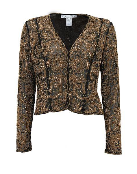 beaded jacket oscar de la renta sleeve embroidered beaded jacket in
