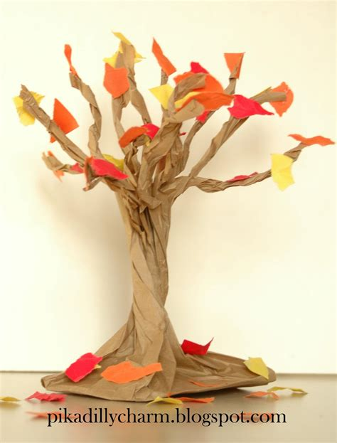construction paper crafts for fall pikadilly charm paper bag fall tree