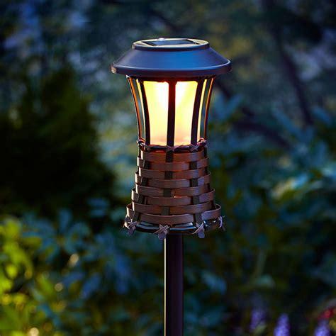 solar tiki lights brown woven torch light solar powered led