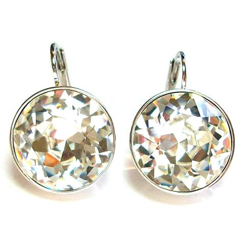 with swarovski crystals large earrings made with genuine