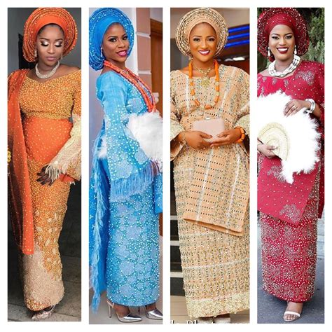 styles with pearls aso oke in different colours and styles