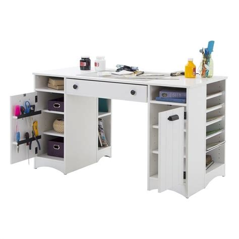craft tables for south shore artwork craft table with storage in white