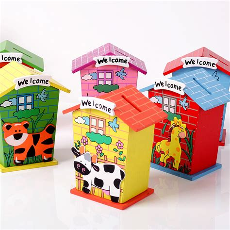 money crafts for wood small house personalized piggy bank for coins