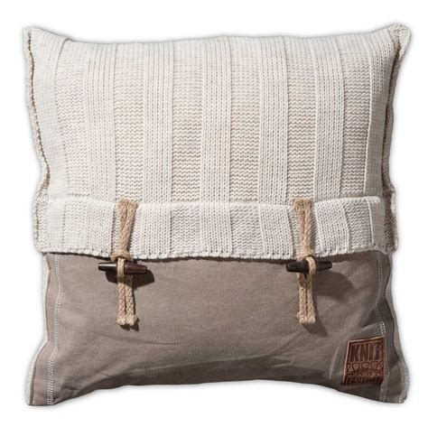 the knit company knit factory gebreid kussen rib beige 50x50 beaudecoration nl