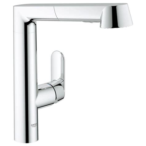 grohe k7 kitchen faucet grohe k7 single handle pull out kitchen faucet in starlight chrome 32178000 the home depot