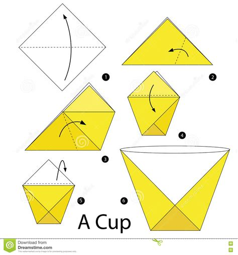 origami written step by step how to make origami a cup stock