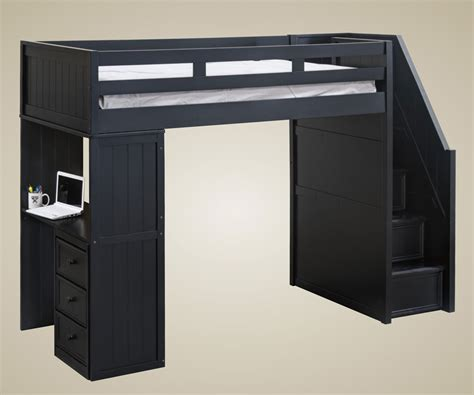 loft beds with desk and stairs furniture stair loft bed in cherry with desk