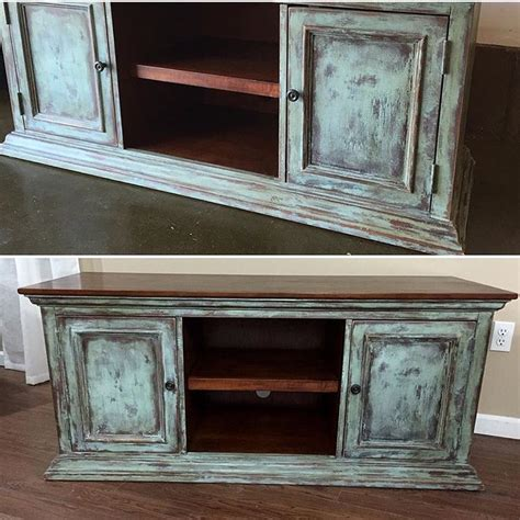chalk paint not distressed tv console painted and heavily distressed in sloan