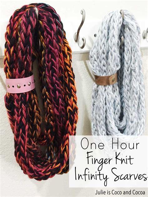 finger knitting a scarf one hour finger knit infinity scarves julie measures
