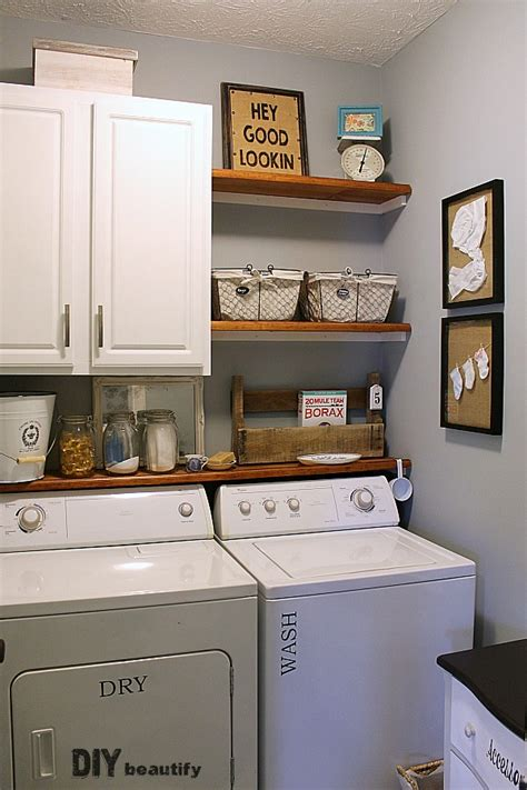 laundry room storage shelves farmhouse modern laundry room reveal diy beautify
