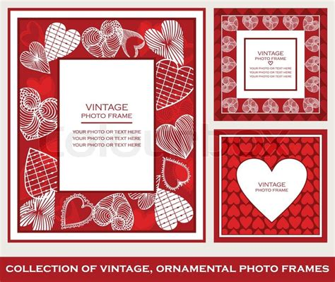 retro abstract photo frames set on st valentine s day
