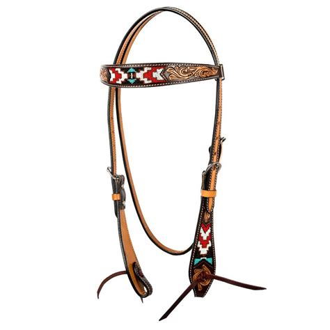 beaded headstalls shop oxbow tack tooled beaded browband headstall