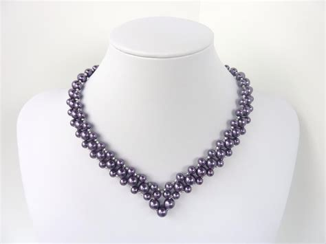 bead necklace tutorial patterns free beading pattern for and classic v shaped