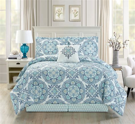 white blue comforter set 5 medallion floral blue teal white comforter set