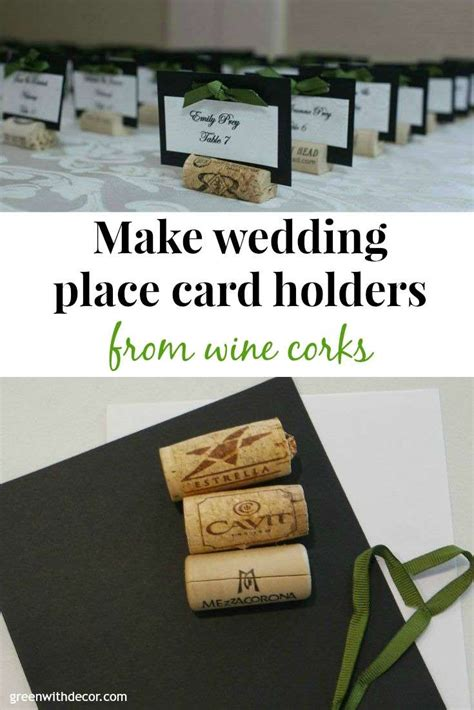 how to make a place card holder green with decor wedding place cards from wine corks