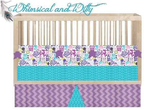 purple owl crib bedding custom crib bedding quot hoot owl quot aqua purple pink owl